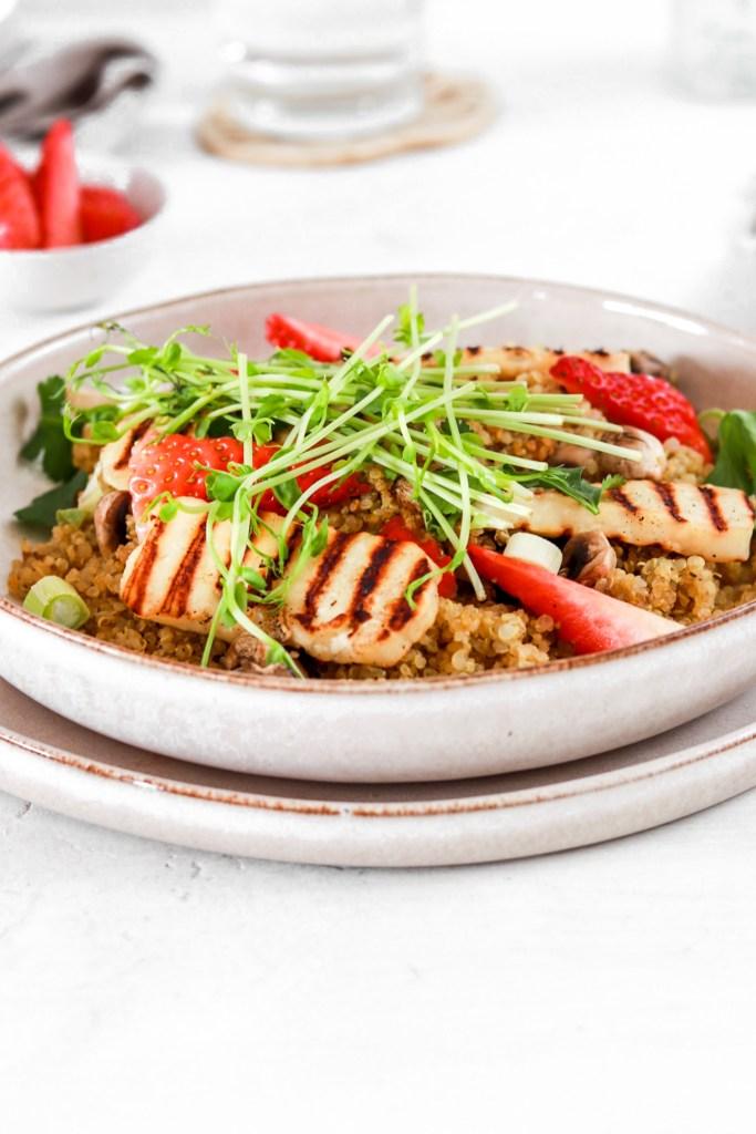 Summer Quinoa & Halloumi Salad (Gluten Free) From Front Close Up
