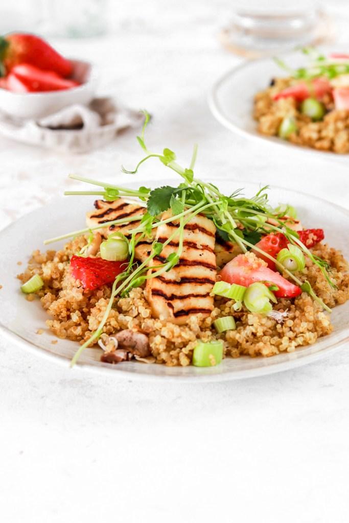 Summer Quinoa & Halloumi Salad (Gluten Free) From Front On Plates