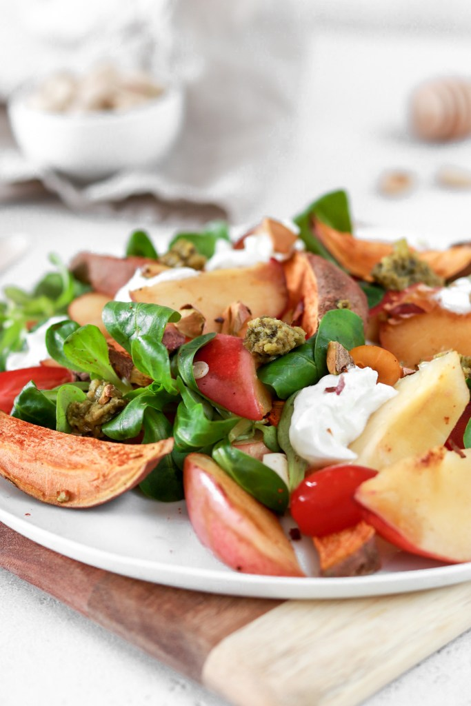 Summer Salad with Sweet Potatoes & Fried Peach (Vegetarian, Gluten & Grain Free) Close Up From Front