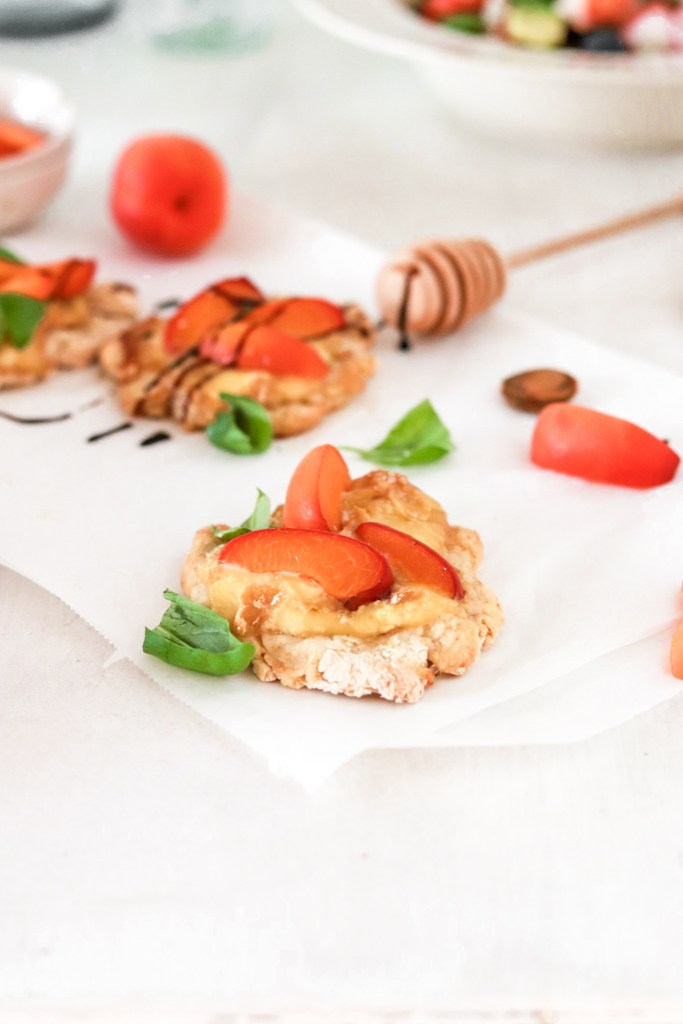 Mini Pizzas with Apricots & Taleggio (Gluten Free) From Front Close Up