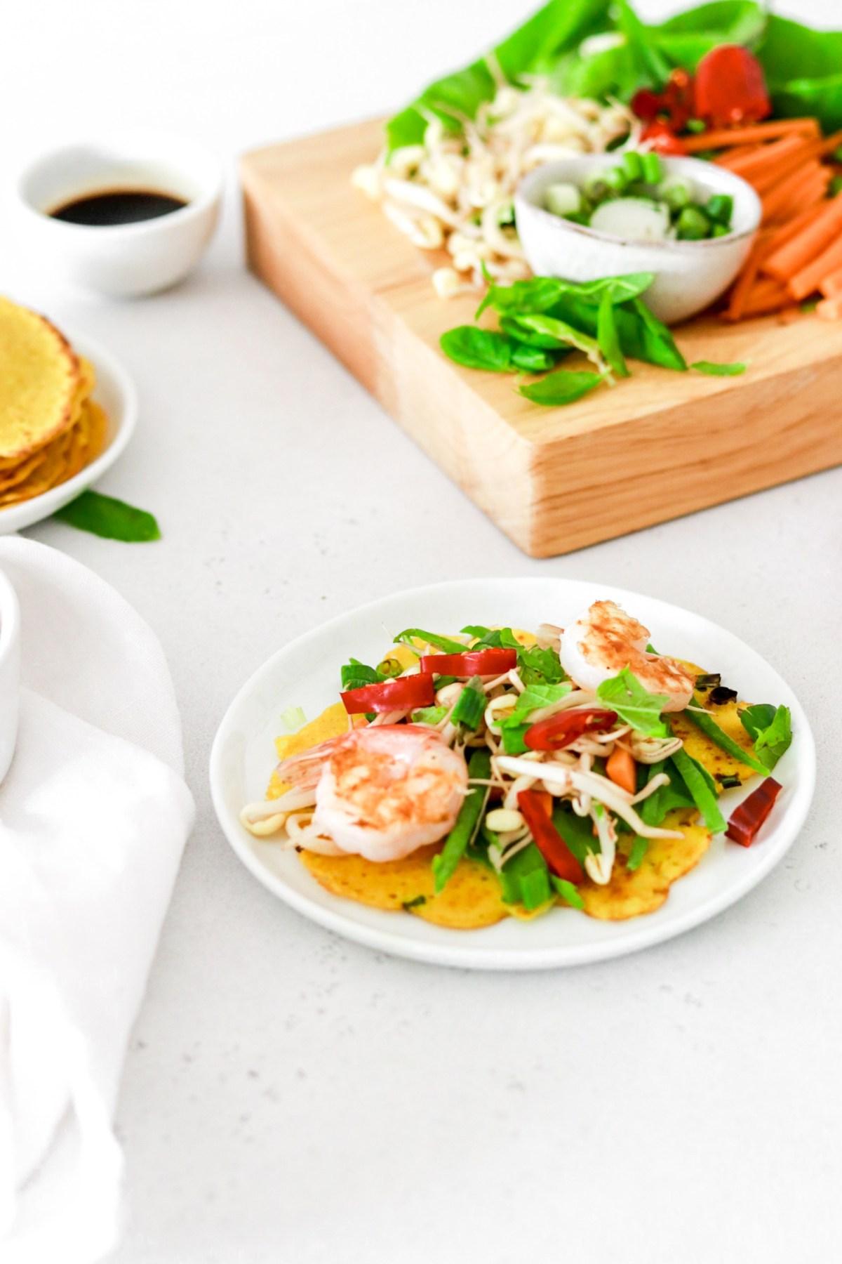 Bánh Xèo - Crispy Vietnamese Pancakes (Gluten Free) From Front