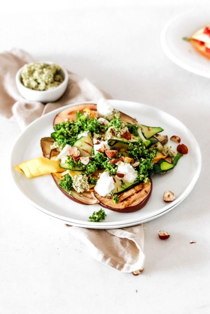 Grilled Aubergine & Zucchini with Hazelnut Pesto & Ricotta (Gluten Free) From Front