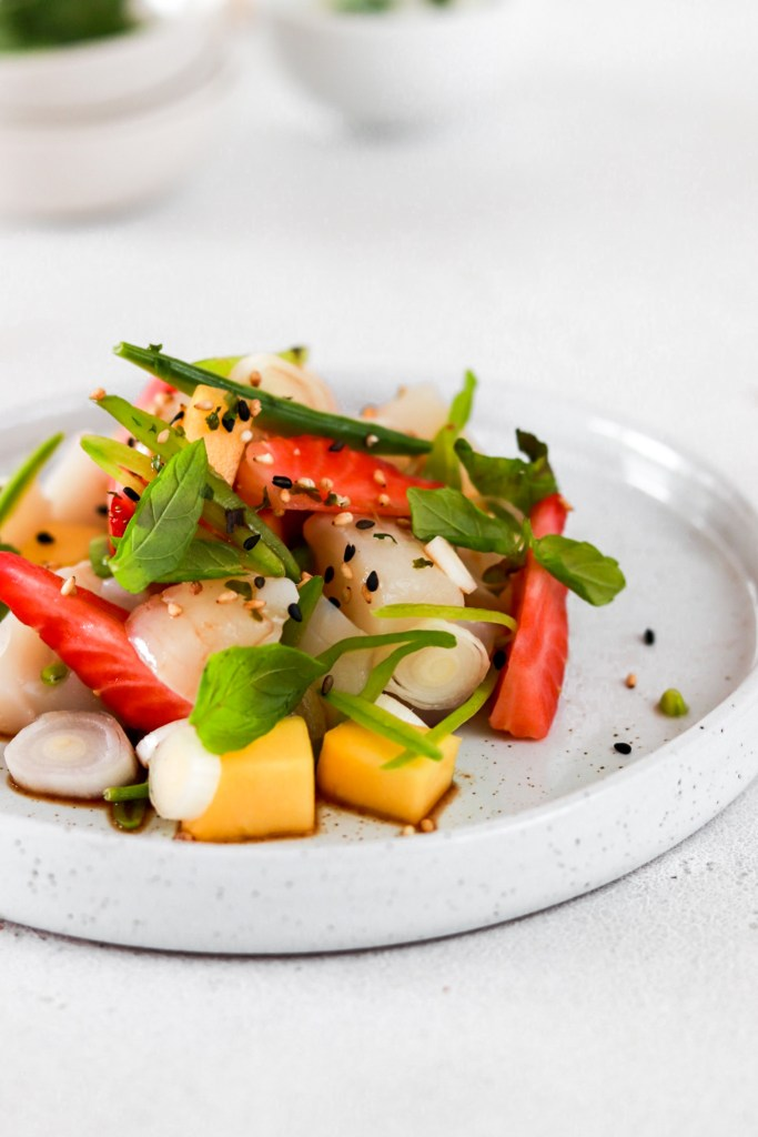 Summer Fruit & Scallop Ceviche (Gluten, Grain, Oil Free & Low Carb) From Front Close Up