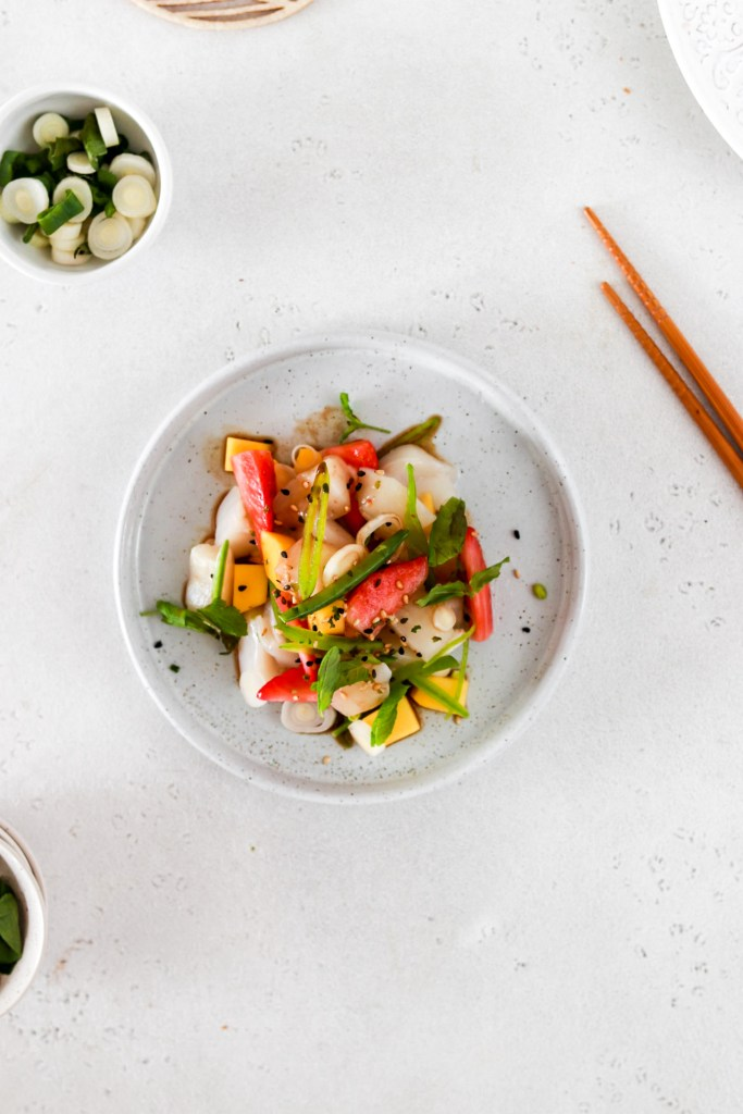 Summer Fruit & Scallop Ceviche (Gluten, Grain, Oil Free & Low Carb) From Above