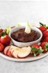 Sweet Potato Chocolate Dip (Vegan, Gluten, Grain & Sugar Free) From Front with A Pear