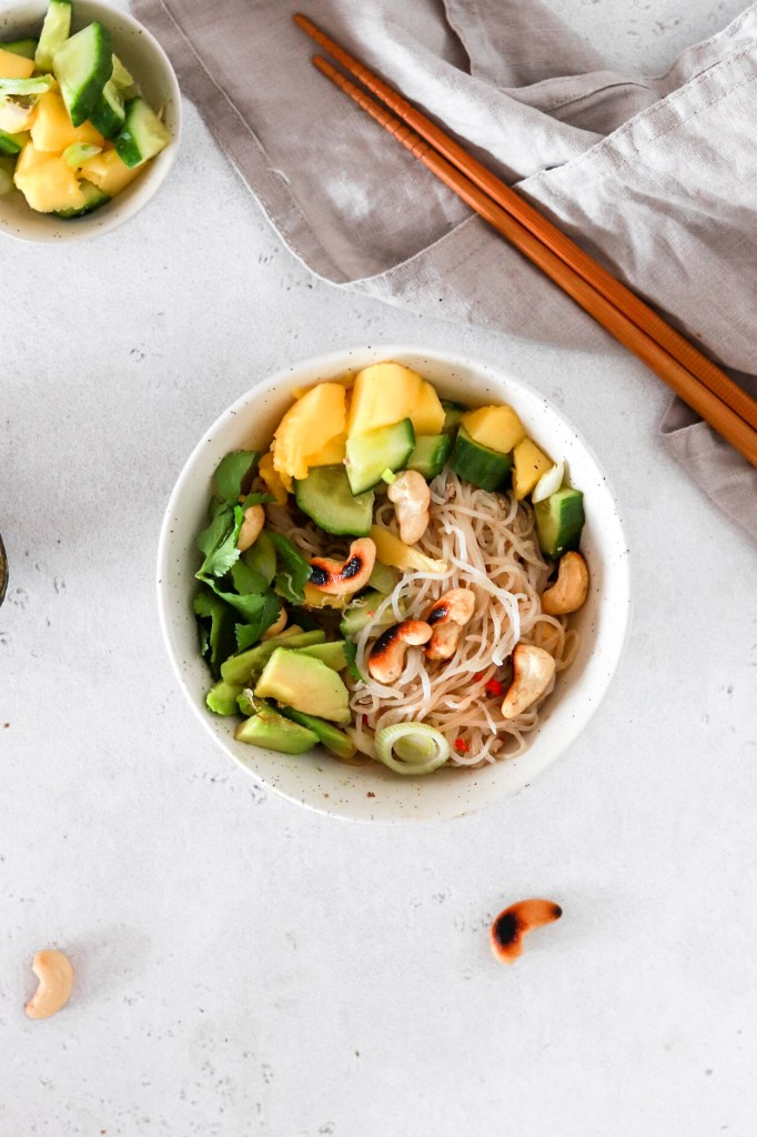 Five Minute Spicy Tahini Shirataki Noodles (Vegan, Gluten, Grain Free & Low Carb) From Above