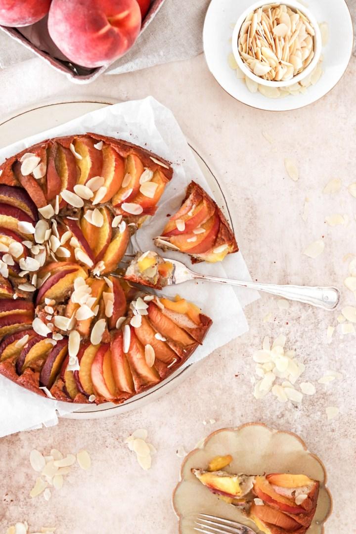 Peach & Almond Cake (Gluten & Sugar Free) From Above