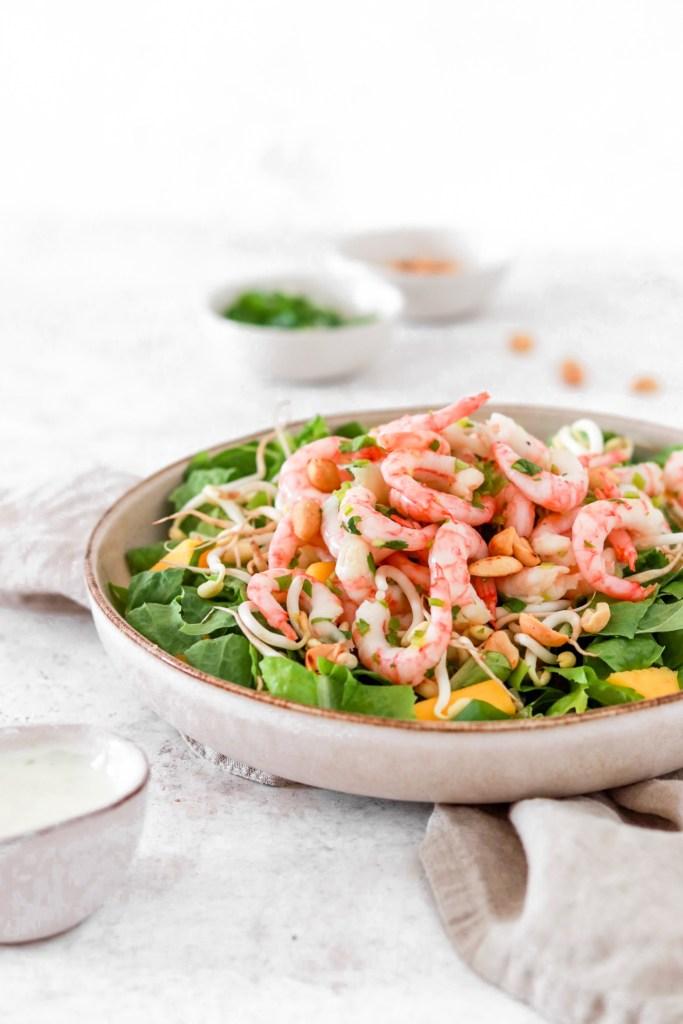 Spicy Shrimp Salad (Gluten, Grain Free & Low Carb) Close Up