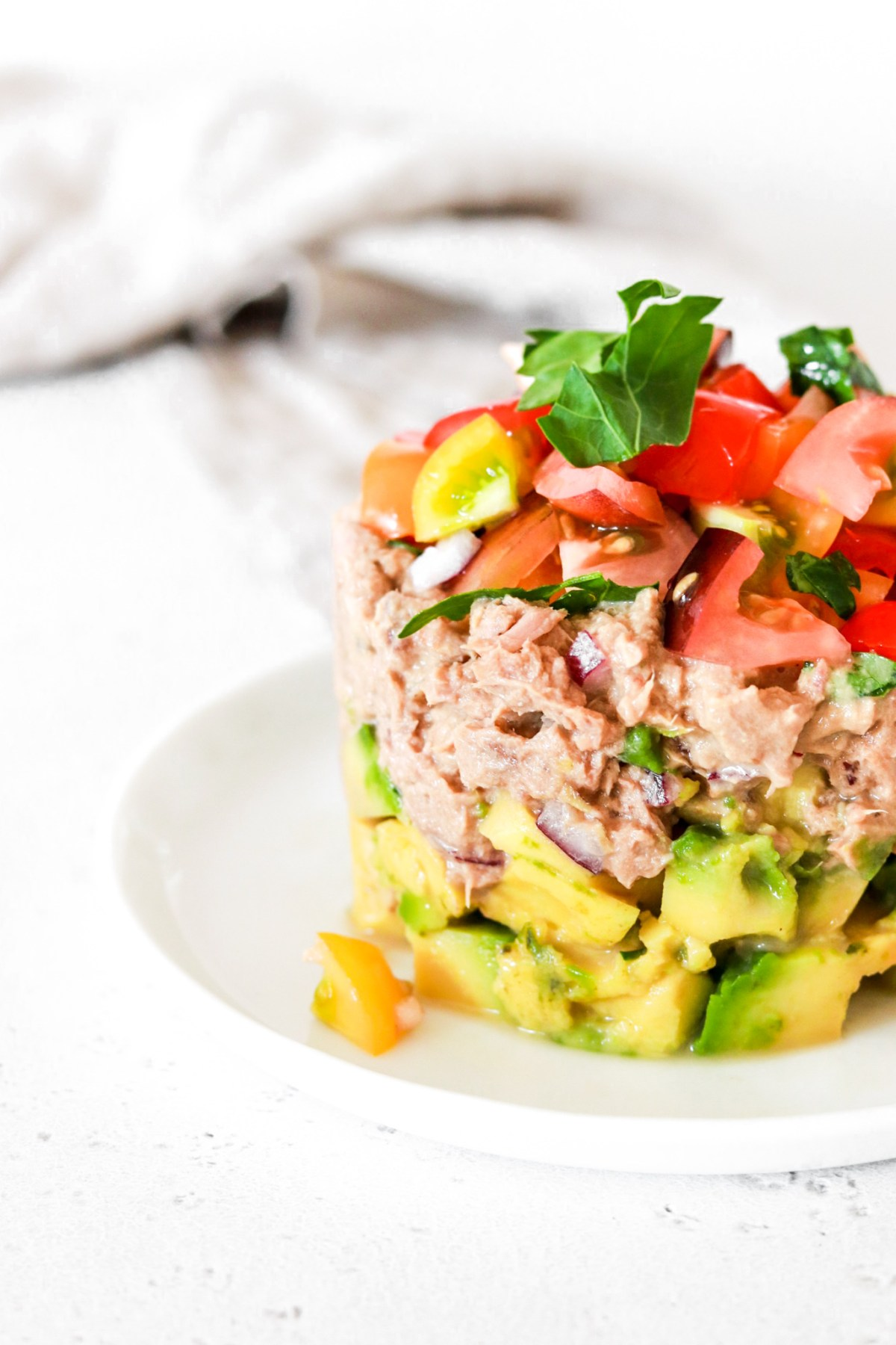 Canned Tuna Tartare (Gluten, Grain, Dairy, Oil Free & Low Carb) From Front Close Up