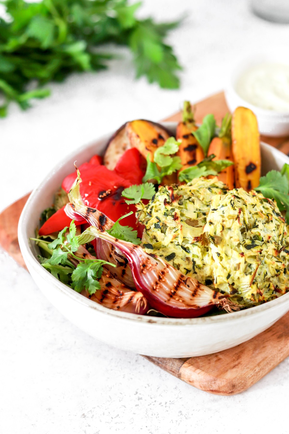 Zucchini & Ricotta Fritter Salad with Grilled Vegetables (Gluten, Grain Free & Low Carb) From Close Up