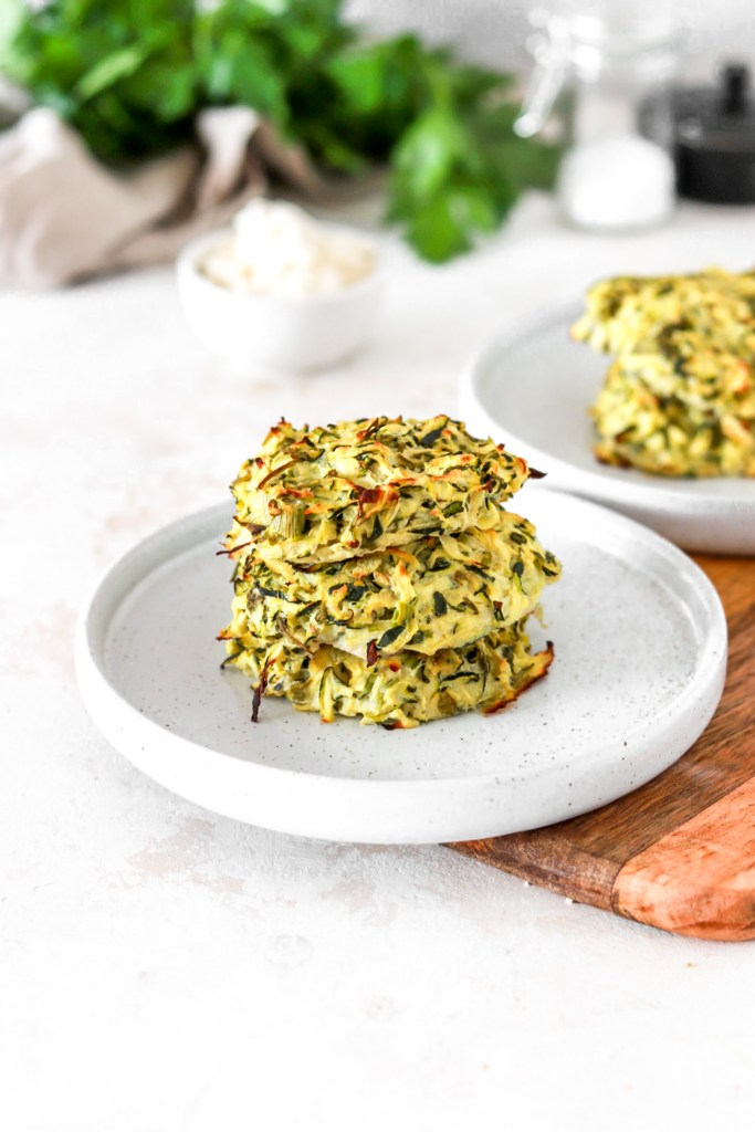 Zucchini & Ricotta Fritters (Gluten, Grain, Oil Free & Low Carb) From Front On Plates