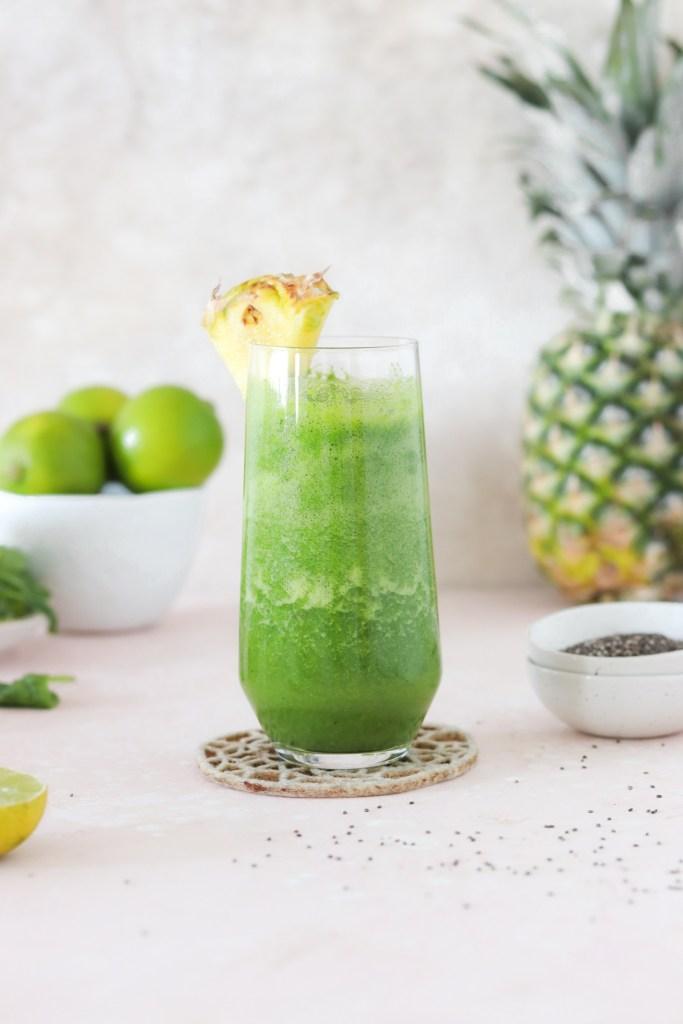 Green Pineapple & Ginger Smoothie (Vegan, Gluten, Grain & Sugar Free) From Front
