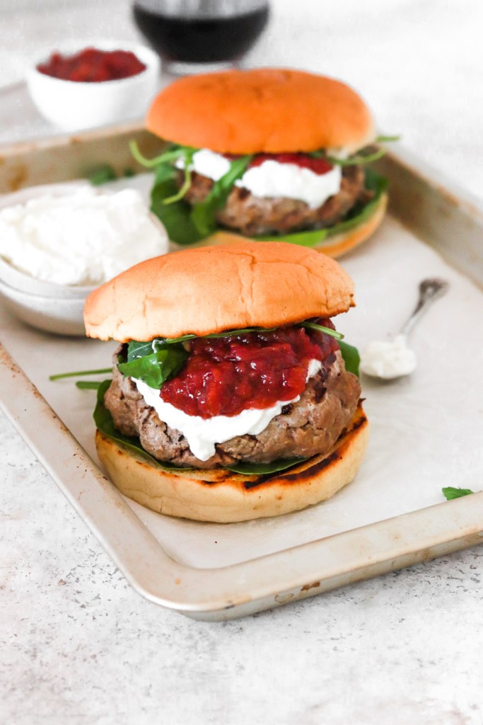 Hamburger with Goat Cheese Cream & Plum Chutney (Gluten Free) From Front