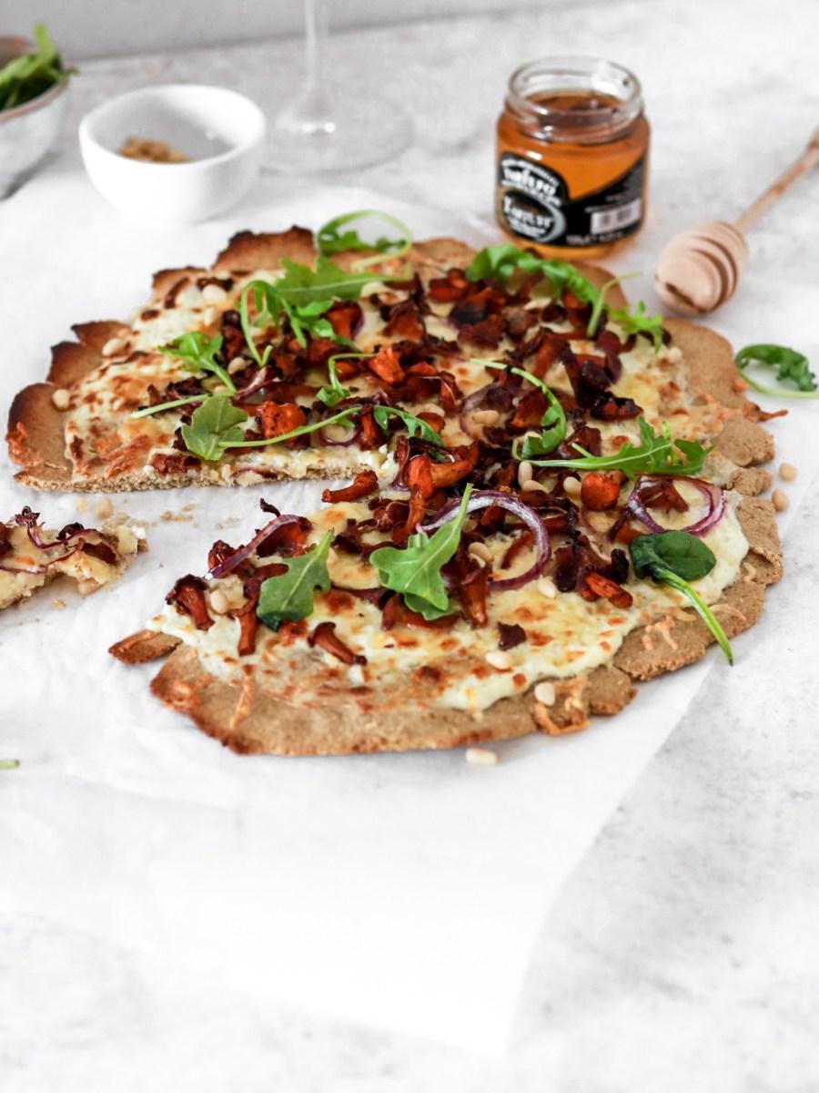 Chanterelle Flatbread Pizza (Gluten Free) From Front Cut