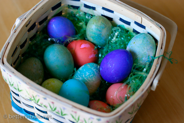 Basket of colored Easter eggs