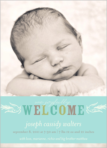 Birth announcement from Shutterfly