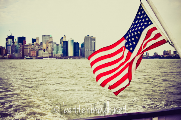 New York City with American flag