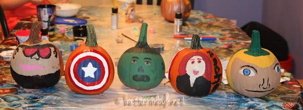Avengers painted pumpkins