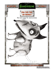 FRANKENWEENIE - Pin The Tail Activity sheet