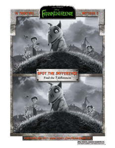 FRANKENWEENIE - Spot The Difference activity sheet