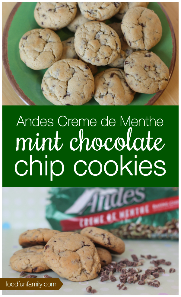 Andes creme de menthe mint chocolate chip cookies recipe - perfect for a holiday cookie plate or everyday cookie baking!