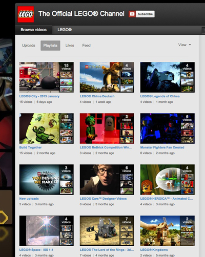 LEGO® channel playlists