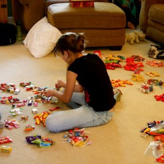 sorting Halloween candy
