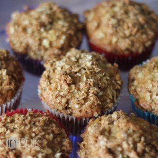 Carrot and Zucchini Muffins With Oatmeal Crumble Topping