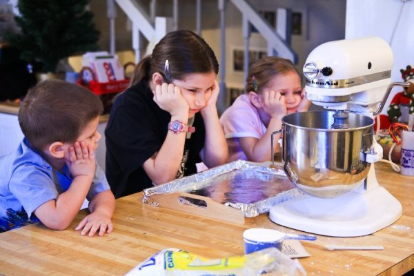 homemade gingerbread houses and frosting cement