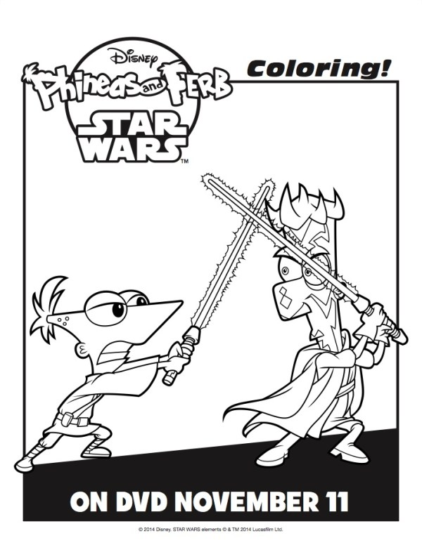 phineas and ferb star wars coloring pages
