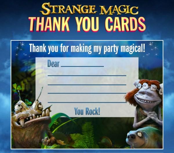 Strange Magic - thank you cards