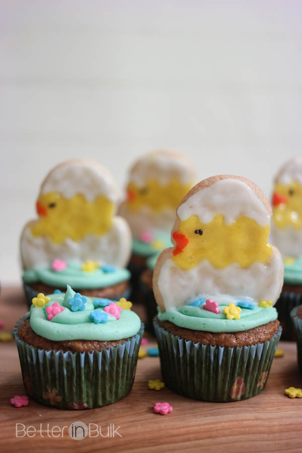 Light Carrot Cake Cupcakes With Hatching Chick Cookies