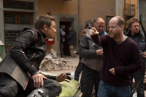 Joss Whedon and Jeremy Renner on the set of Avengers: Age of Ultron {Photo credit: Marvel}