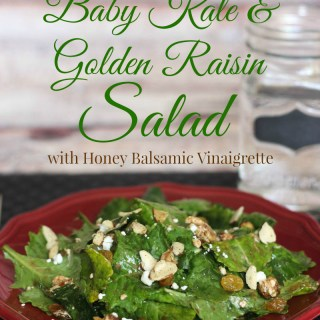 Baby kale and golden raisin salad with honey balsamic vinaigrette