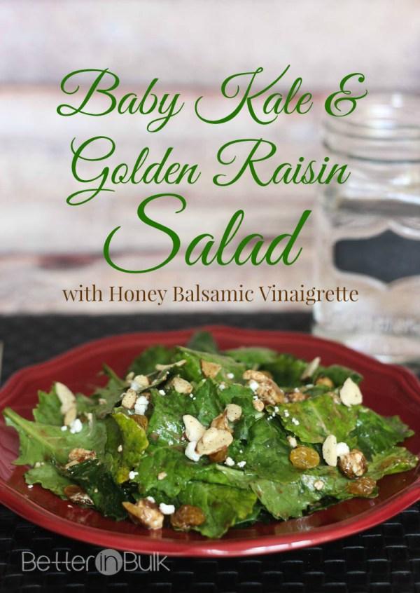 Baby kale and golden raisin salad with honey balsamic vinaigrette