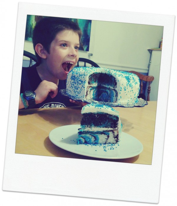AJ with his zebra birthday cake