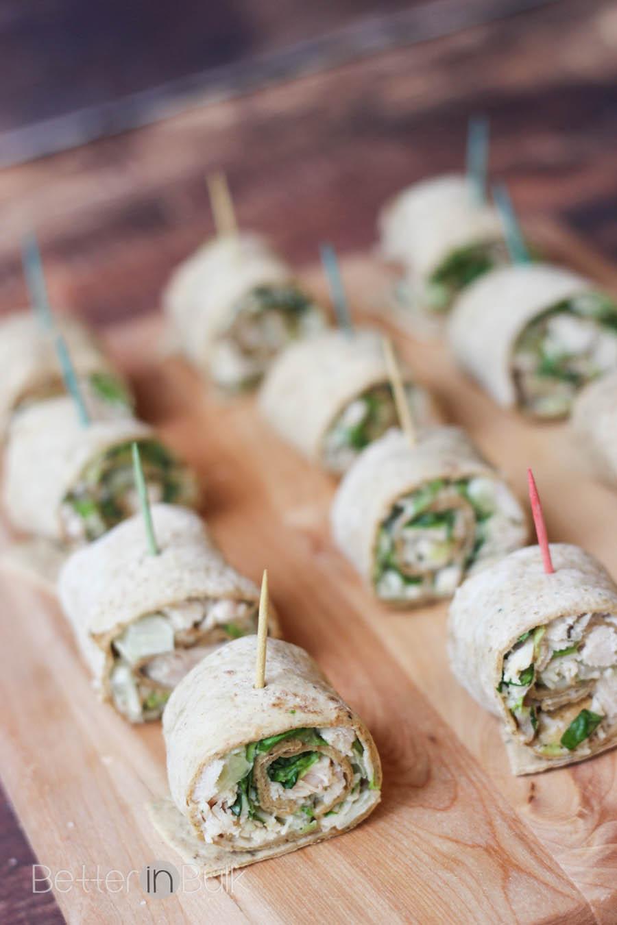 Easy Chicken Caesar Salad Pinwheels