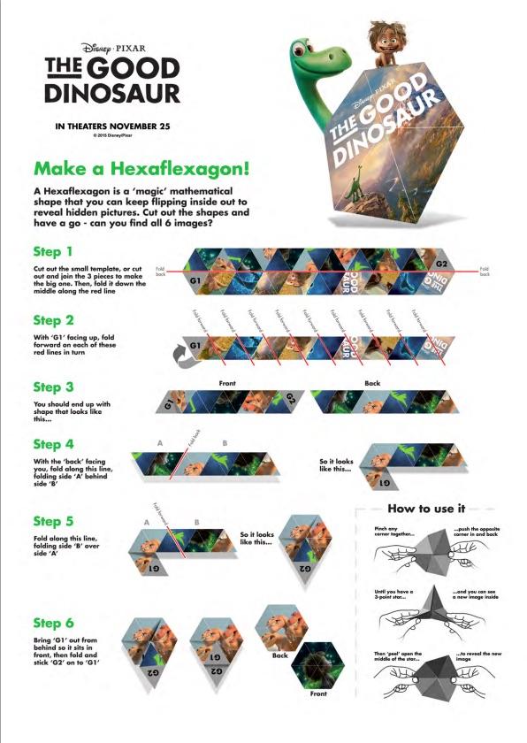 The Good Dinosaur Hexaflexagon