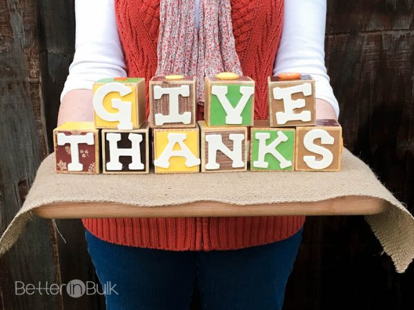 Thanksgiving Craft Give Thanks Wooden Blocks by Better in Bulk