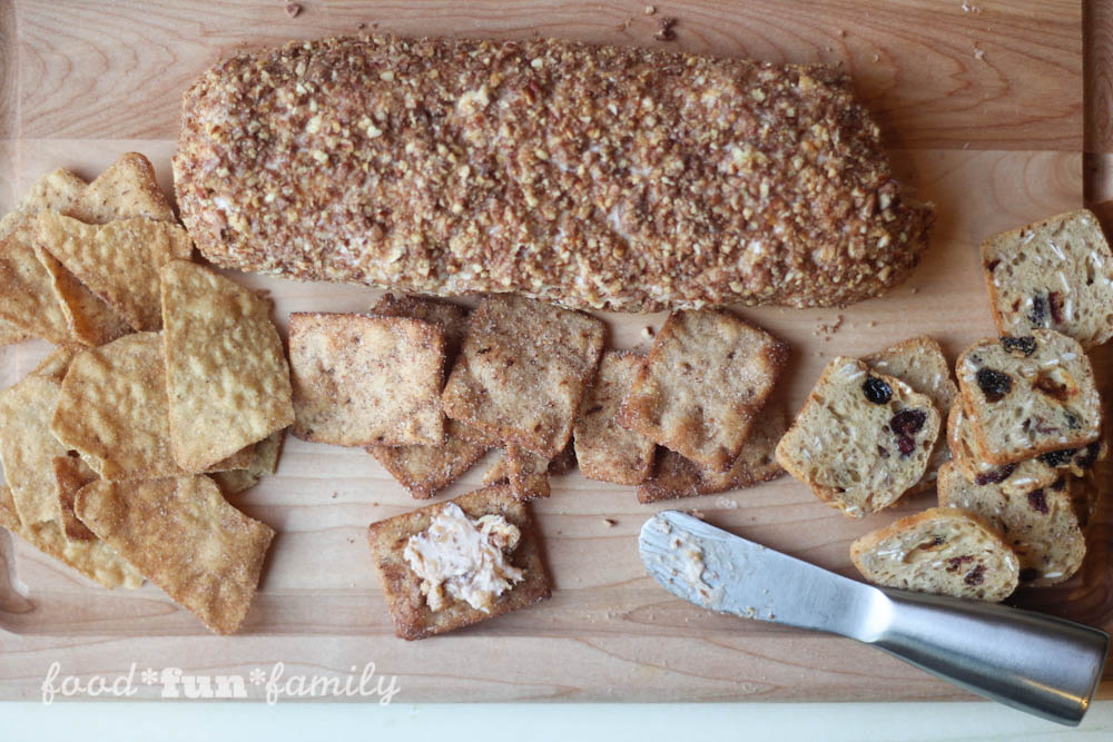 Cinnamon Pecan Crunch Cheese Log Recipe from Food Fun Family