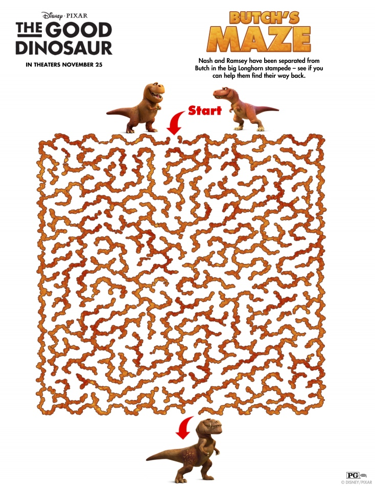 The Good Dinosaur maze at Food Fun Family