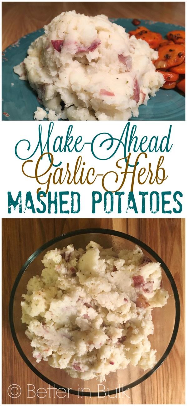 Make-Ahead Garlic Herb Mashed Potatoes Recipe from Better in Bulk