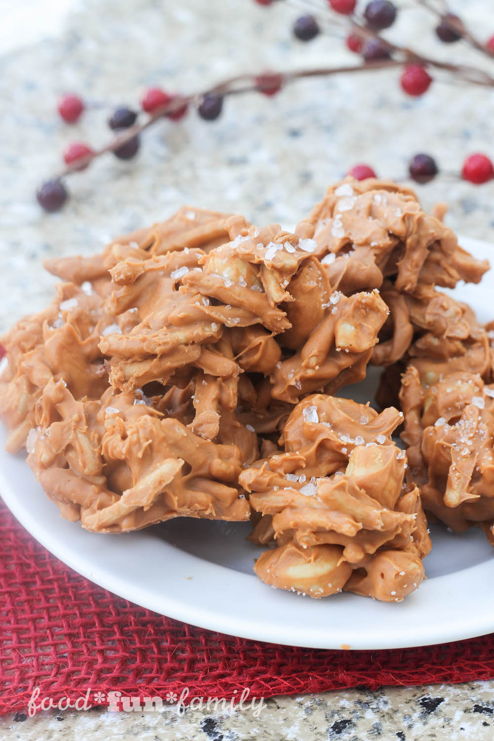 Salted Maple Cashew Haystacks no-bake recipe by Food Fun Family