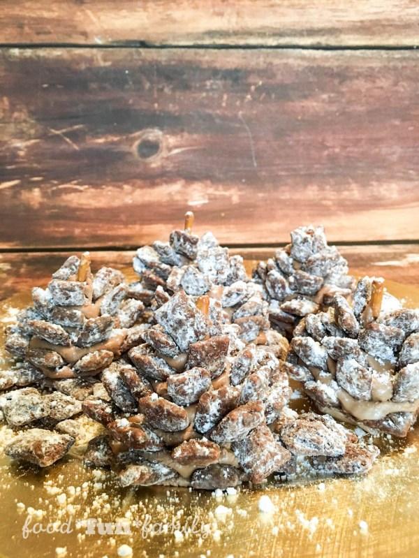 Snowy Muddy Buddy Chocolate Pinecones Recipe from Food Fun Family