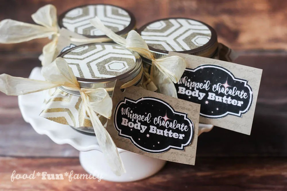 Whipped chocolate body butter and free printable labels from Food Fun Family