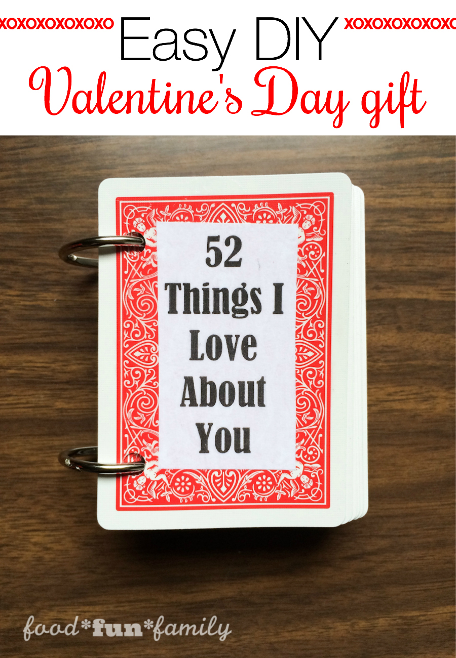 """Looking for a quick and cheap or last-minute gift idea for Valentine's Day? Your sweetheart is going to love these """"52 Things I Love About You"""" cards. This would be a fun Valentine's Day craft for kids to make for a parent, too!"""