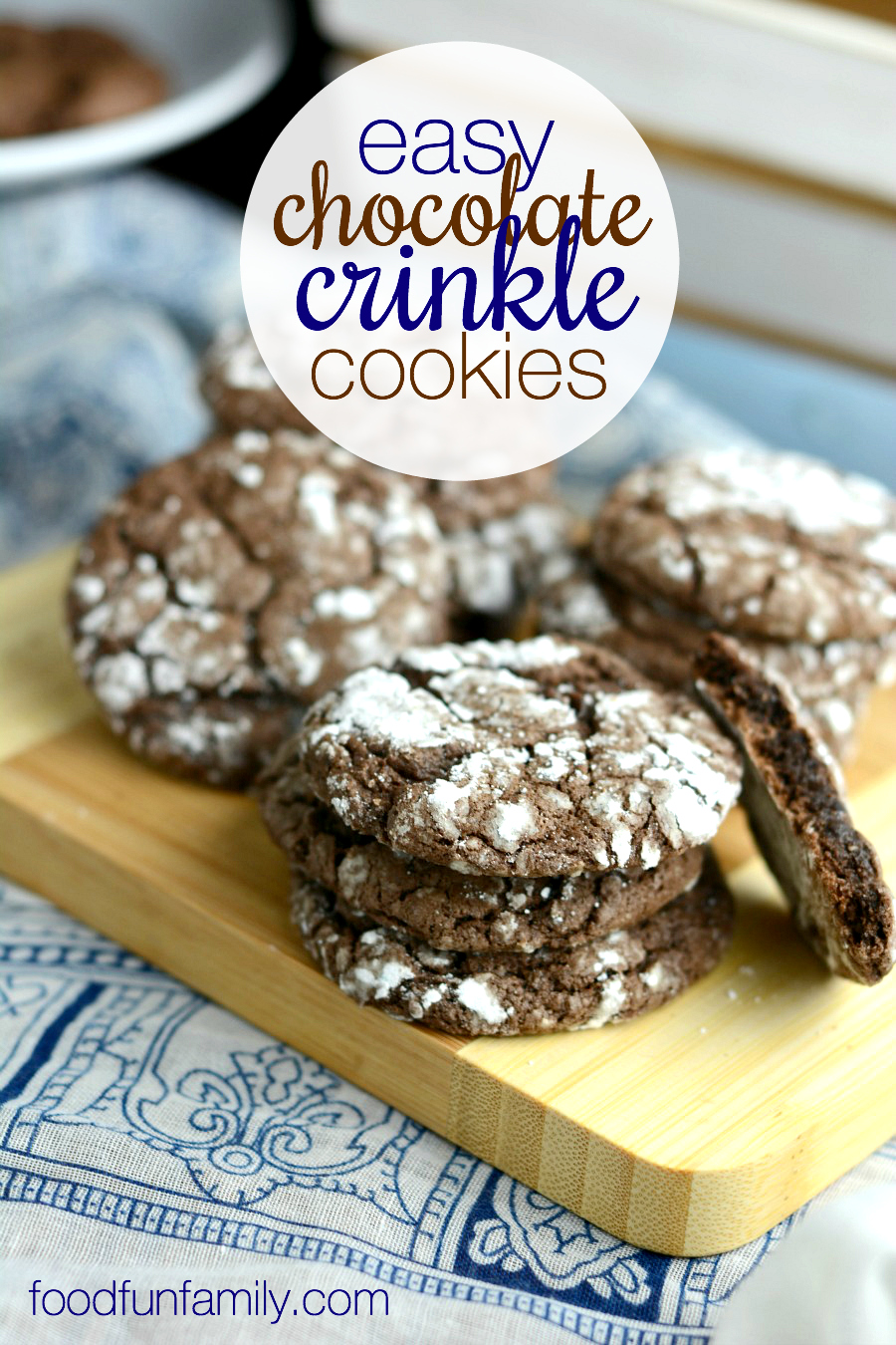 These easy chocolate crinkle cookies from Food Fun Family couldn't be easier to make. This recipe only calls for 4 simple ingredients, but they turn out moist and delicious every time!