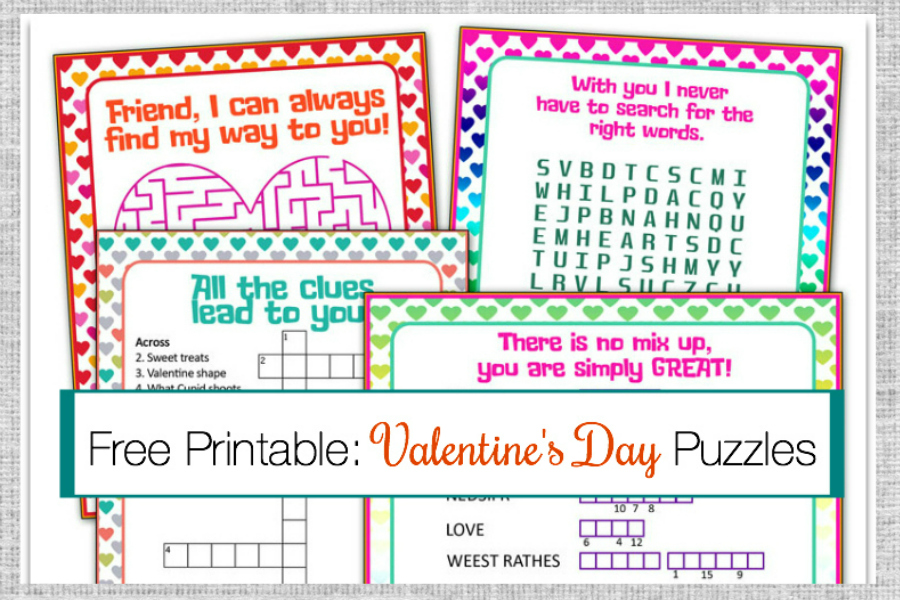 image about Valentine Puzzles Printable known as Valentines Working day Puzzle Playing cards A Free of charge Printable