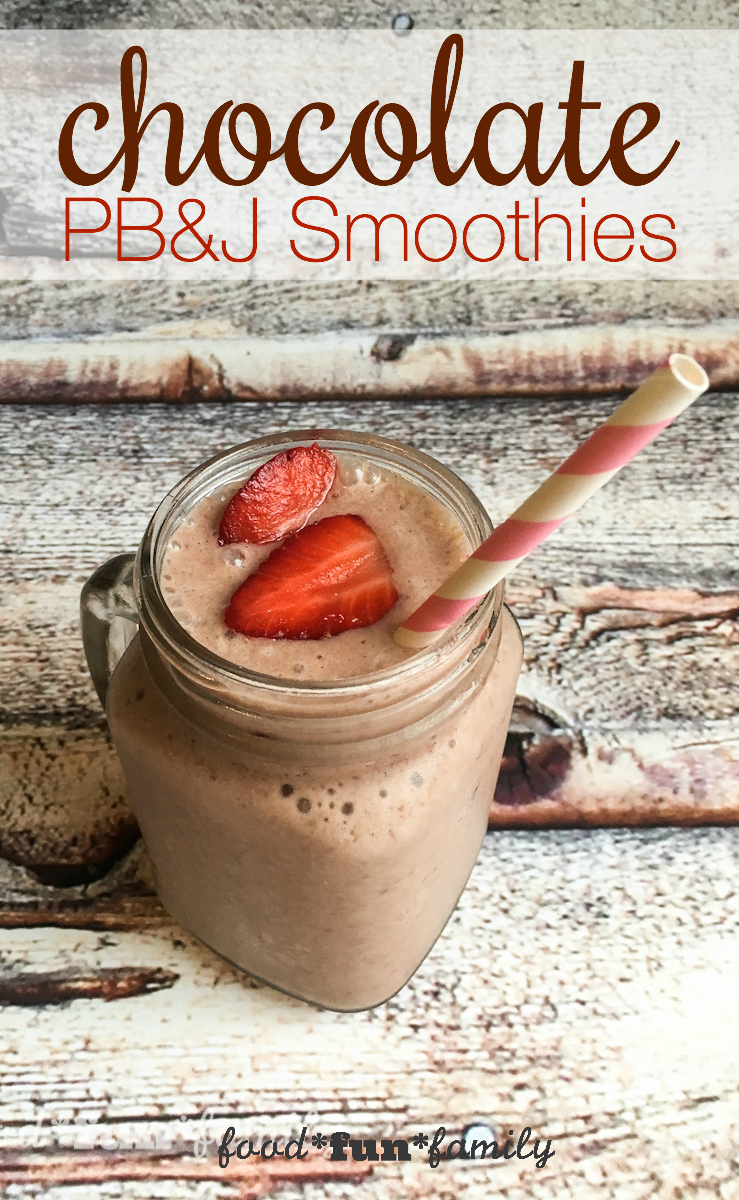 Chocolate PB&J Smoothies recipe with TruMoo Calcium Plus Chocolate Milk - a healthy breakfast smoothie that the whole family will love!