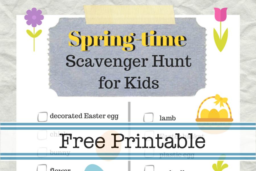 Free printable Spring Time Scavenger Hunt for kids